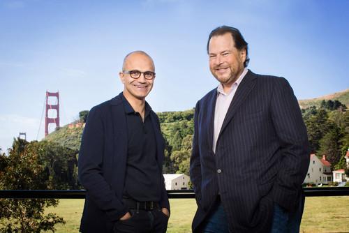Microsoft CEO Satya Nadella and Salesforce CEO Marc Benioff