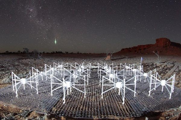 Night sky at the Murchison Widefield Array (MWA) site in Western Australia.  Photo by John Goldsmith.