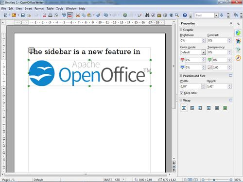 OpenOffice's new interface features a new sidebar where many common tasks can be easily executed.