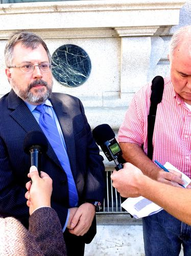 Kurt Opsahl, deputy general counsel at the EFF, spoke with reporters following a court hearing on Oct. 8, 2014.