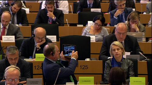 Members of the European Parliament during Günther Oettinger's evaluation hearing.