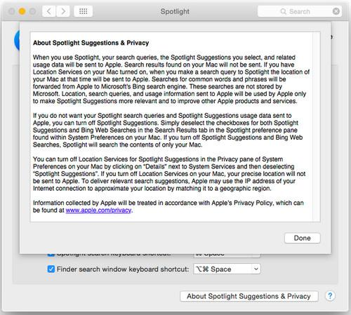 Apple is by default collecting search terms entered into Spotlight in its latest operating system Yosemite, which has prompted worries that users may be unaware.