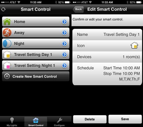TCP Lighting iOS App Smart Control Screens