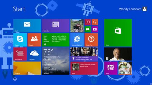Figure 1: Windows 8.1 adds new live tile sizes and a down-arrow to the All Apps list.