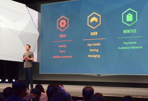 Facebook CEO Mark Zuckerberg pitches the company's platform services to developers at F8.