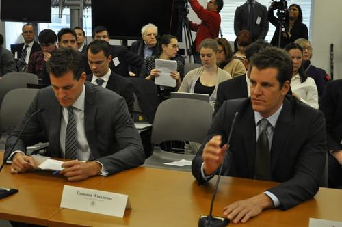 Left to right, Cameron and Tyler Winklevoss at New York State Department of Financial Services hearing on virtual currency.