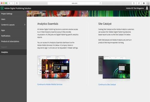 The analytics feature in Adobe's new Digital Publishing Solution.