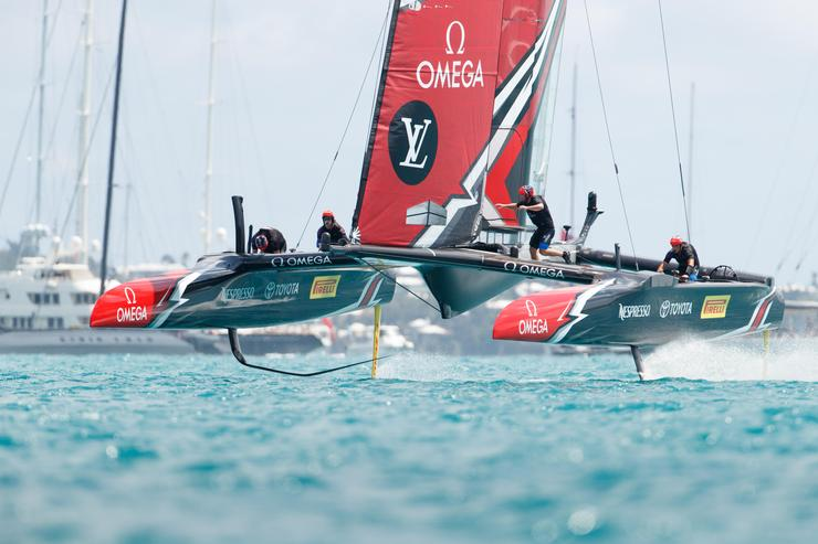 The winning boat during the 2017 America's Cup in Bermuda
