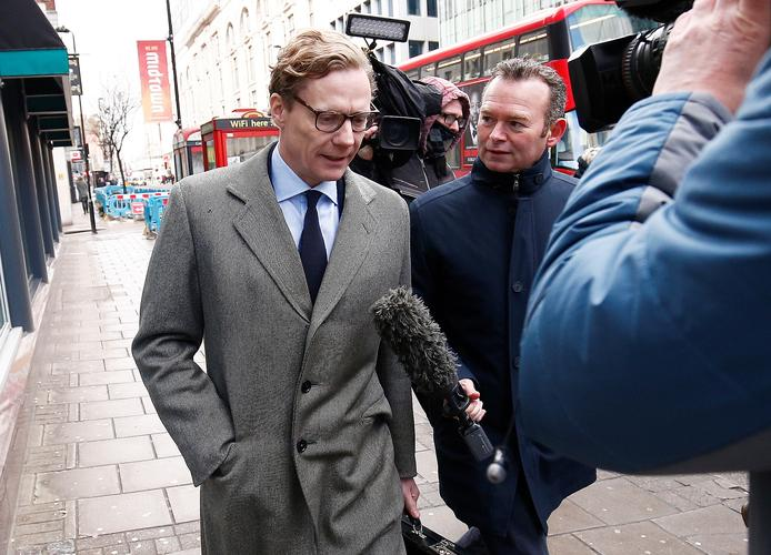 Alexander Nix, CEO of Cambridge Analytica arrives at the offices of Cambridge Analytica in central London, Britain