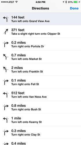 I also appreciate Apple Maps' List Steps feature, which displays all the steps in your route in one convenient, scrollable screen.