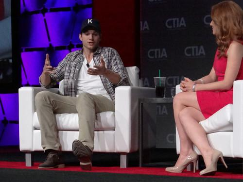 Ashton Kutcher was interviewed by CNBC reporter Julia Boorstin in a keynote session on the final day of CTIA Wireless.