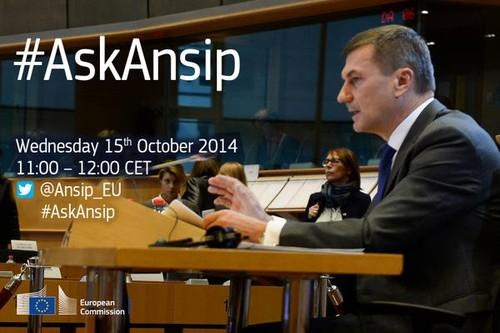 The likely next EU digital chief Andrus Ansip invited Twitter users to question him during an hour long Twitter chat
