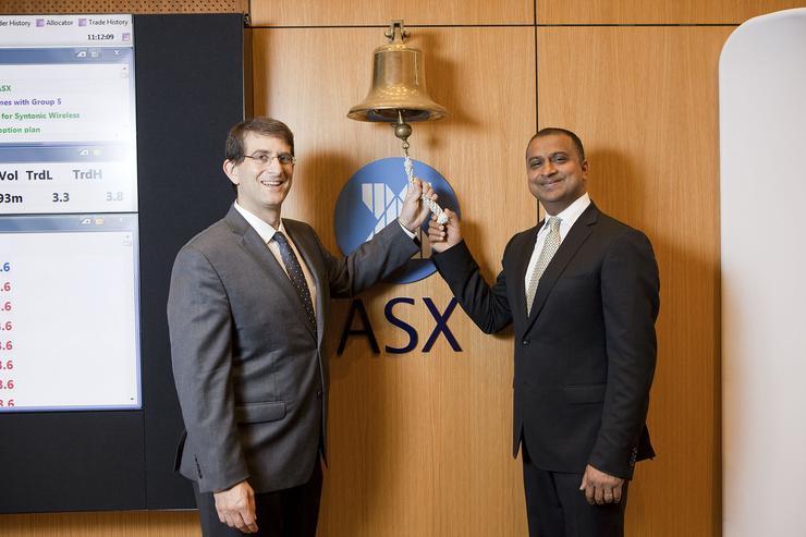 Syntonic CEO Gary Greenbaum and CIO Rahul Agarwal ringing the bell at the ASX this morning
