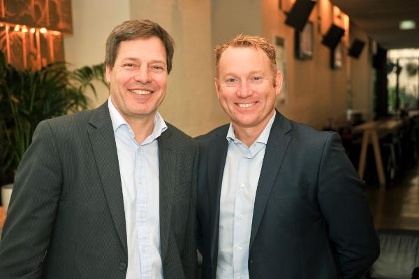 Australia Post's executive GM of consumer and SMB products and CMO, Greg Sutherland, with executive GM of trusted services, Andrew Walduck