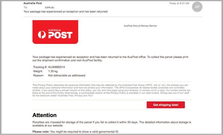A screenshot of one of the emails that is being sent by cybercriminals