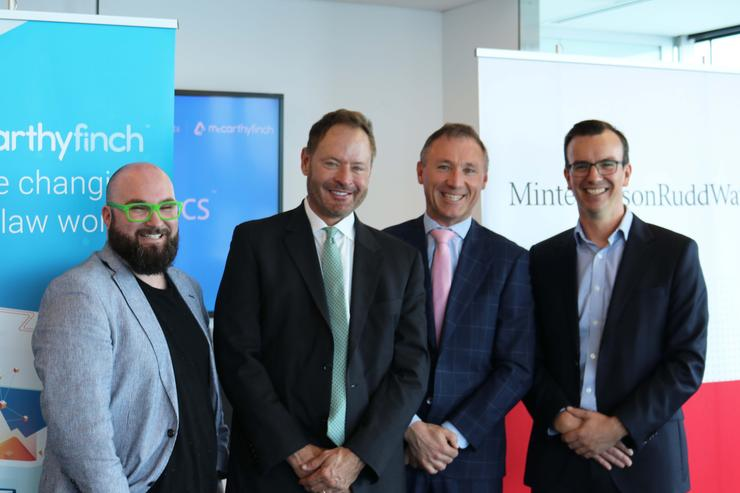 At the global launch of authorDOCS in Auckland: CEO Nick Whitehouse and Chair James Schellhase of McCarthyFinch; and CEO Andrew Poole and Partner Tom Maasland of MinterEllisonRuddWatts