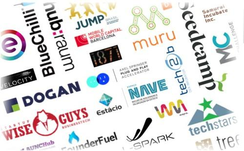 Logos of accelerators participating in BizSpark Plus