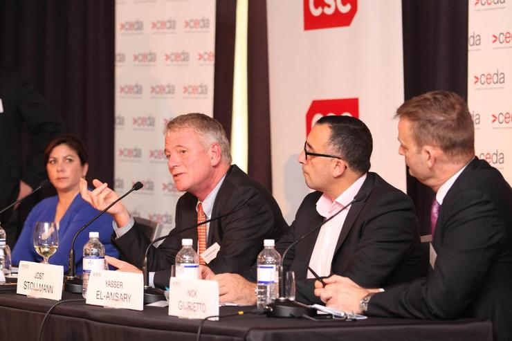 Australian Services Roundtable's Alina Bain, Tyro's Jost Stollmann, AVCAL's Yasser El-Ansary and Australia Digital Currency & Commerce Association's Nick Giurietto.