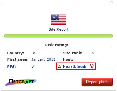 The Netcraft plug-in can warn of Heartbleed holes