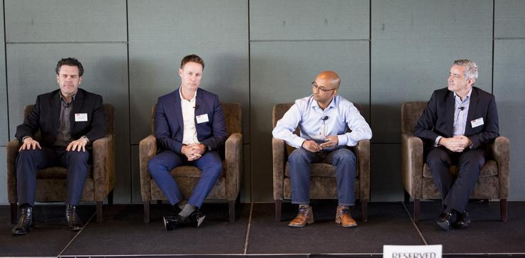From left: Microsoft's Frazer Scott; Cigna's Mike Grenfell; Orion's Dhaya Sivakumar; and Westpac New Zealand's Andy Kerr