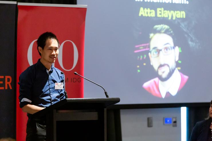 At this year's CIO50 forum in Auckland, Victor Yuen of FaceMe leads the tribute for LWA Solutions CEO Atta Elayyan and the other victims of the Christchurch terror attacks.