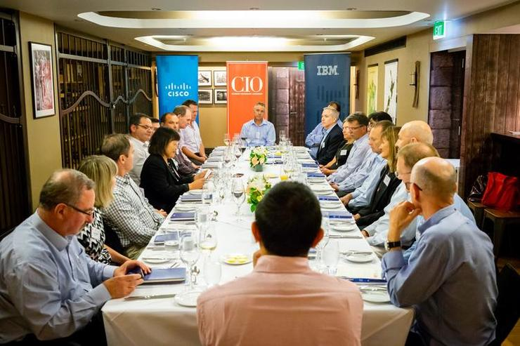 Around the table: Vaughan Robertson, Beca; Kate Nikitina, Spidertracks; Chris Robb, Suncorp; Liz Cawson, Tower; Divina Paredes, CIO NZ; David Kennedy, Transaction Services Group; Nigel Stevenson, Kensington Swan; James Harper, University of Auckland; Tim Chaffe, University of Auckland; Andy Stewart, The Selwyn Foundation; Ryan Cotterell, ASB; Jacques Botes, Baycorp; Craig Columbus, Russell McVeagh; Julie Canepa, Cisco; Gerhard Nagele, Vodafone; Warren Seet, Auckland Transport; Jeff Brown, ASB; Jo Healey, IBM; Campbell Such, Bidfood; John Bell, Fletcher Building; Roger Wanless, Auckland University of Technology; Bernard Seeto, Southern Cross Health Society.
