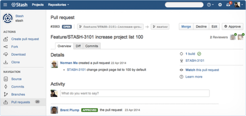 The new Atlassian Service, Stash Data Center, provdes a way for large teams to effectively conduct code review