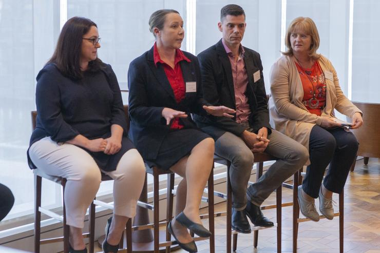@ the Future of Work panel discussion: Dr. Claire Barber, Chief Digital Officer, Spark NZ; Michelle Carroll, Enterprise Operations Manager, Flight Centre; Carl Fransen, Application Lead – ServiceNow, WSP Opus and Hannah Seddon, Head of HR Service Delivery, WSP Opus