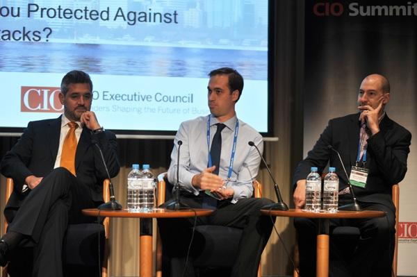 IDC's Charles Anderson (left) with Keystart Home Loans' Luke Thomas, and Palo Alto Networks' Gavin Coulthard