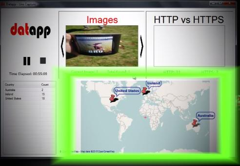 Datapp collects unencrypted data traffic and shows what is being transmitted, such as a message or a photograph.