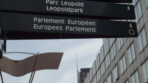 Sign showing the way to the European Parliament in Brussels on June 17, 2015