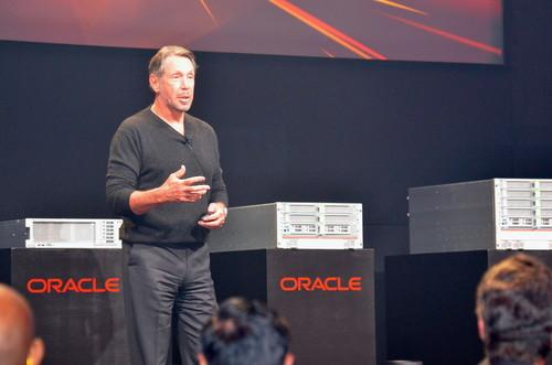Larry Ellison at the launch of SPARC servers on March 26