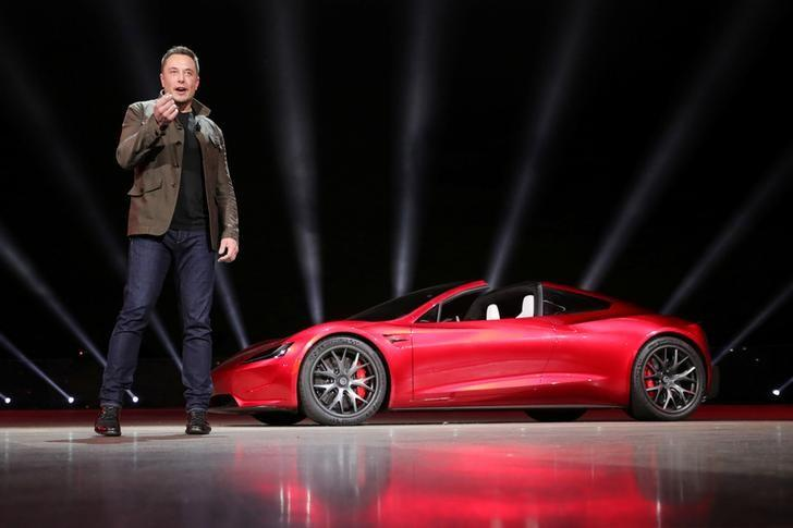 Tesla CEO Elon Musk unveils the Roadster 2 during a presentation in Hawthorne, California, U.S., November 16, 2017. Tesla/Handout via REUTERS