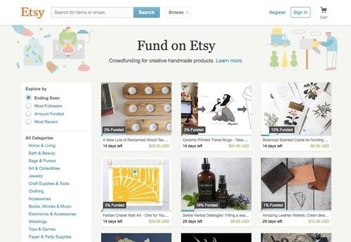 Etsy's crowdfunding service, pictured June 16, 2015, lets buyers fund dozens of different projects.