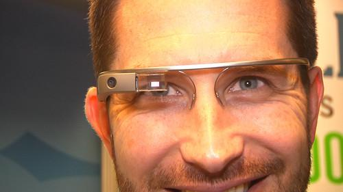 Dan McNelis, co-founder of Google sales partner Dito, wearing Google Glass at the E2 Conference in Boston