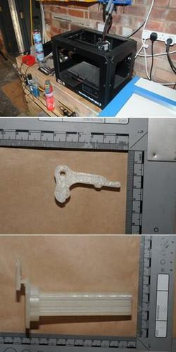 "The seized 3D printer and what the Greater Manchester Police identified as ""the clip and the trigger"" of a 3D printed gun."