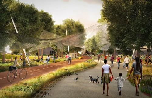 The Green Loop, a circuit for bikes and pedestrians. A solar canopy, Google says, produces energy and also protects bicyclists from the rain.