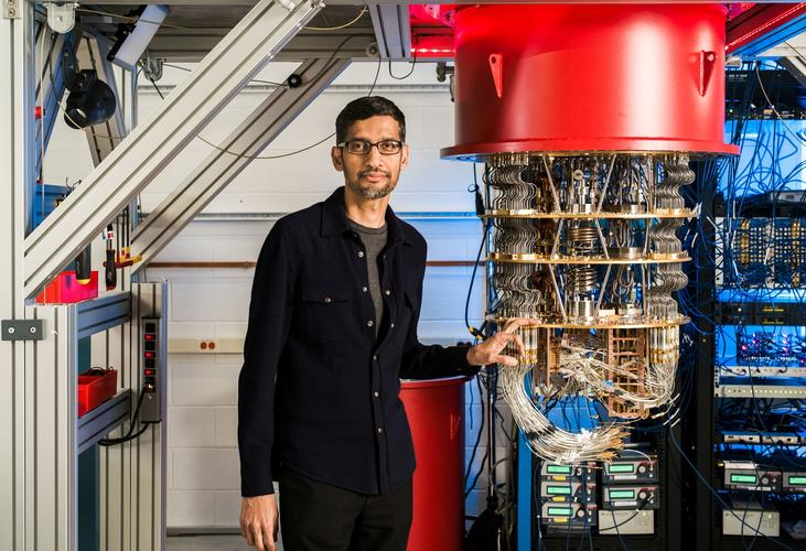 A handout picture from October 2019 shows Sundar Pichai with one of Google's Quantum Computers in the Santa Barbara lab, California, U.S. Picture taken in October 2019. Google/Handout via REUTERS
