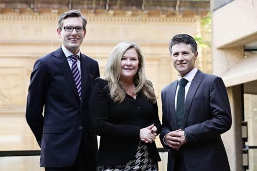 NSW finance minister, Dominic Perrottet (left) with Microsoft A/NZ chief Pip Marlow, and Victor Dominello, minister for innovation and better regulation