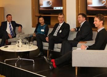 Dissecting Leadership: Todd Scott, Sachie Nomura, Raymond Dobbe, Chris Quin and Hamish Carter at the panel discussion organised by the Sir Peter Blake Trust.