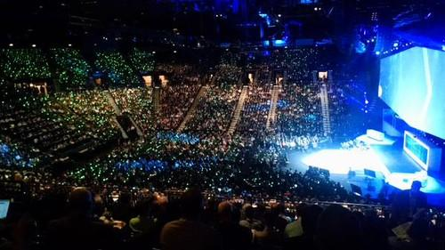 A sea of blue and green lights, from wristbands worn by attendees, lights up the MGM Grand Arena at the IBM Interconnect conference, in Las Vegas