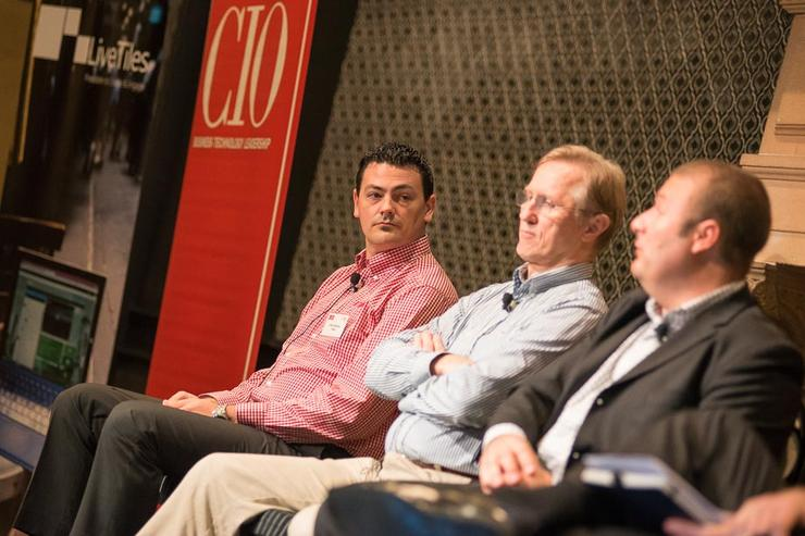 NSW Electoral Commission CIO, Ian Brightwell (centre), with Rhipe Solutions' Liam Davison (left), and Forrester principal analyst, Tim Sheedy (right)