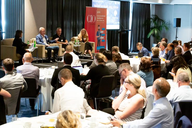 In the panel: Dominic Quin, GM marketing and customer experience at FoodStuffs; Glen McLatchie, Group CIO at SkyCity; and Rebecca Thomas, CIO at PwC NZ