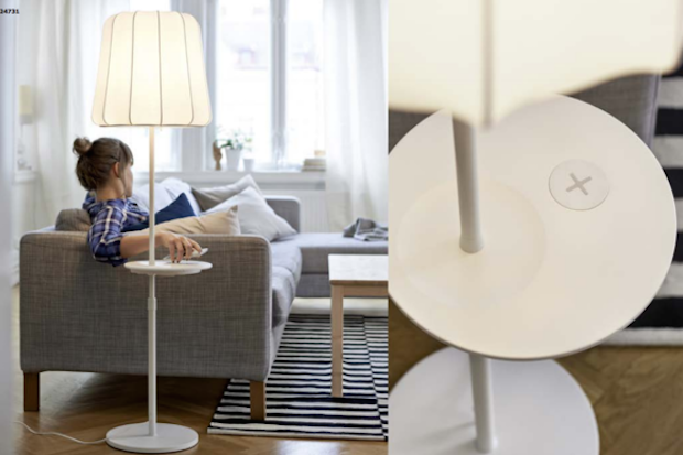 A floor lamp that is part of IKEA's wireless charging furniture line. Credit: IKEA
