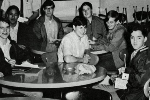 Footage of Steve Jobs throughout his life -- including attending this HP Explorer's Club meeting as a young man -- is featured in the new movie. Credit: Magnolia Pictures