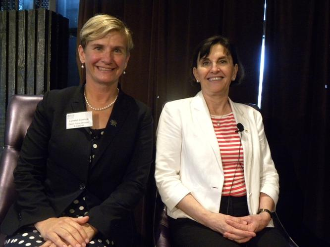 Lynwen Connick (L) with fellow FITT panellist, Susan Pond (R) (photo: Holly Morgan)