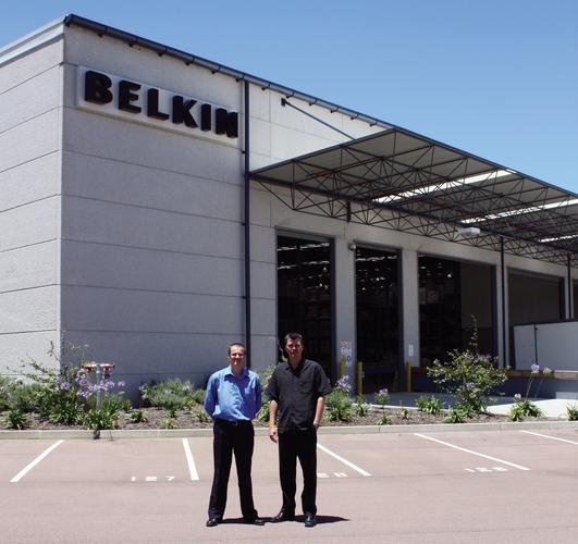 Jeremy Attwood and Kannyn MacRae outside Belkin's head office on the NSW Central Coast, about an hour and 30 minutes north of Sydney.