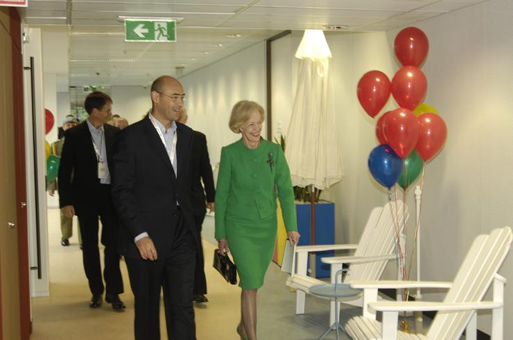 Karim Temsamani, general manager of Google Australia and New Zealand, shows the Governor-General, Ms Quentin Bryce AC, Google's offices at the company's official headquarters opening.