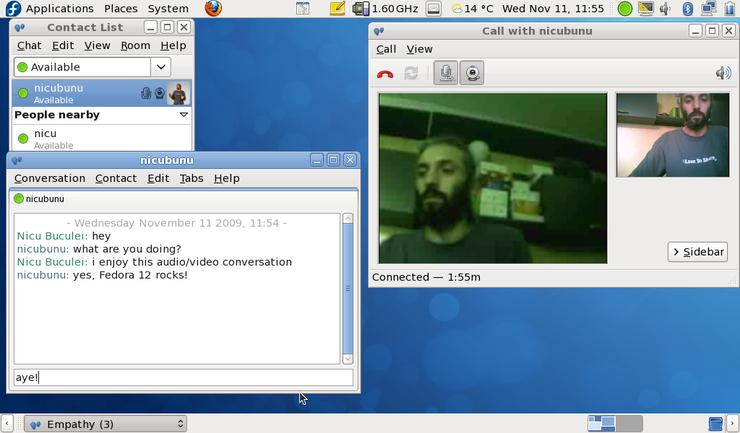 Fedora 12 integrates the Empathy unified communications client