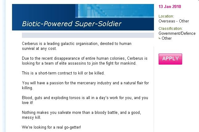 Help wanted: Biotic-Power Super Solider.